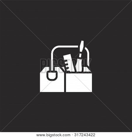 Toolbox Icon. Toolbox Icon Vector Flat Illustration For Graphic And Web Design Isolated On Black Bac