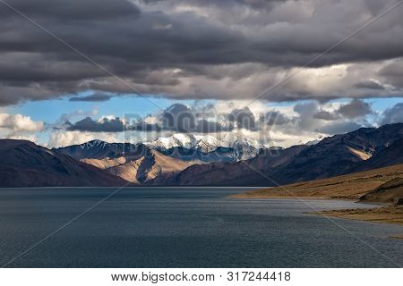 Stormy Sky Over Tso Moriri Lake In Ladakh Region, India
