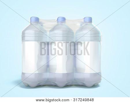 Pat Bottles In Wrapped Package 3d Render On Blue