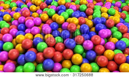 Holiday Childrens Party A Games Room A Box Filled With Small Colored Balls 3d Render On White