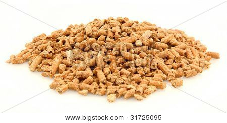 Pile Of Organic Pine Cat Litter On White Background