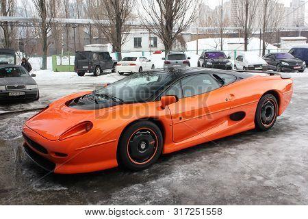 January 3, 2013; Kiev, Ukraine. Jaguar Xj220 (1991). Hypercar. Winter.