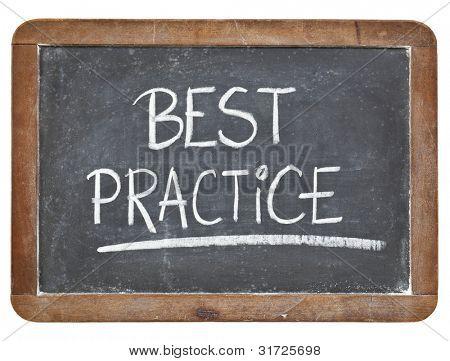 best practice - white chalk handwriting on isolated vintage slate blackboard