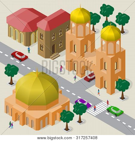 Isometric Cityscape Of Buildings, Temple, Monastery, Roadway, Cars And People.