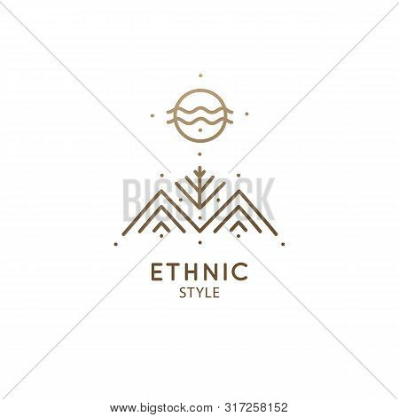 Modern Esoteric Abstract Logo Mountain Landscape. Zen Minimal Symbol Of Sacred Pyramides And Tree. N