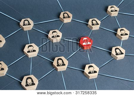 Hexagons With Businessmen Employees Are Connected With Their Leader By A Business Network. Communica