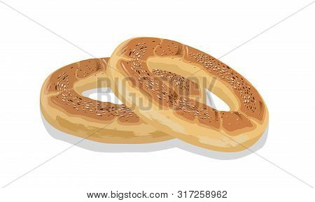 Two Rings Of Wheat Bagels, Bubliks Or Cracknels. Baked Goods, Pastry, Dessert Food. Cartoon Vector I