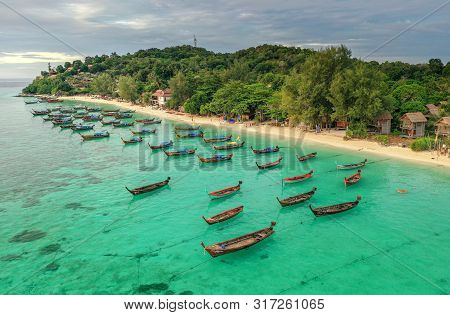 High Aerial Overview Of Entire Tropical Lipe Island
