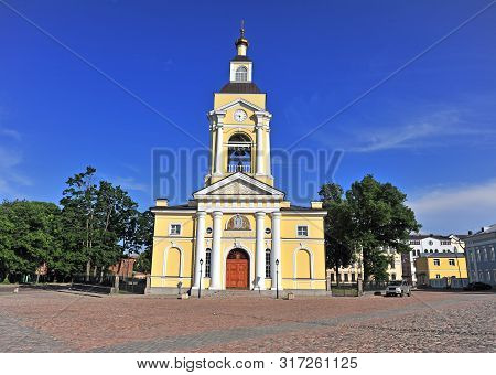 Old Bell Tower And Church In Vyborg, Russia