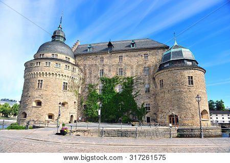 Facade Of Medieval Castle In City Of Orebro