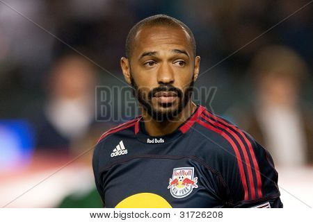 CARSON, CA. - MAY 7: New York Red Bulls F Thierry Henry #14 before the MLS game between the New York Red Bulls & the Los Angeles Galaxy on May 7, 2011 at the Home Depot Center.