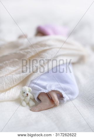 Premature Reborn Doll Shot To Represent Premature Baby And Cot Death Syndrome , Vertical Image For C