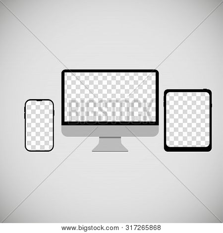 Phone Computer Tablet With Empty Screens Grey Background