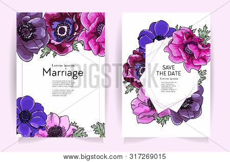 Wedding Invitation Frame Set. Anemone Flowers, Leaves Isolated On White. Sketched Wreath, Floral, He