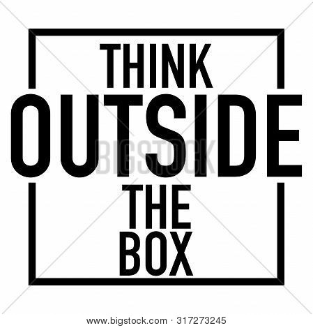 Think Outside The Box Logo White Background Vector