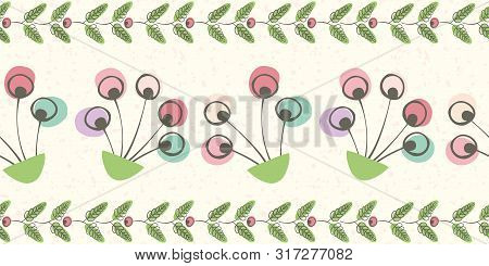 Linocut Style Border With Pink, Blue Flowers And Green Leaves. Seamless Vector Pattern On Cream Tran