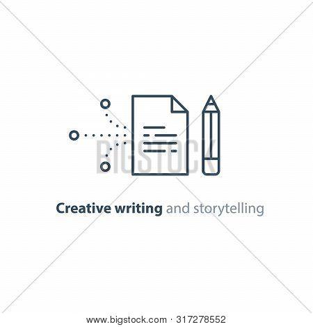 Creative Writing Concept, Storytelling, Content Management, Assay Composition, Education, Vector Mon