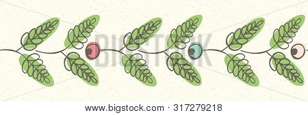 Simple Linocut Style Border With Berries And Leaves. Seamless Vector Pattern On Cream Transparent Te