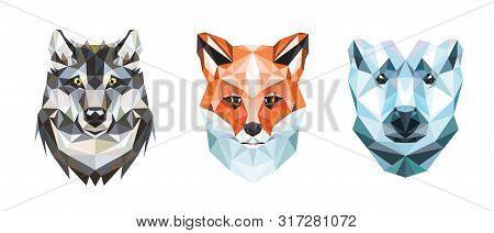 Polygonal Portraits Of Fox, Wolf And Polar Bear. Set Of Illustrations.