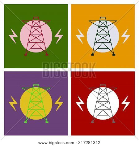 Vector High Voltage Pylon On White Background In Isometric Perspective. Red And White 3d Metal Pole