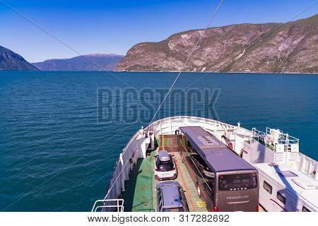 Sognefjord, Norway - July 29, 2018: View Over The Sognefjord And The Boat Deck Of The Mannheller - F