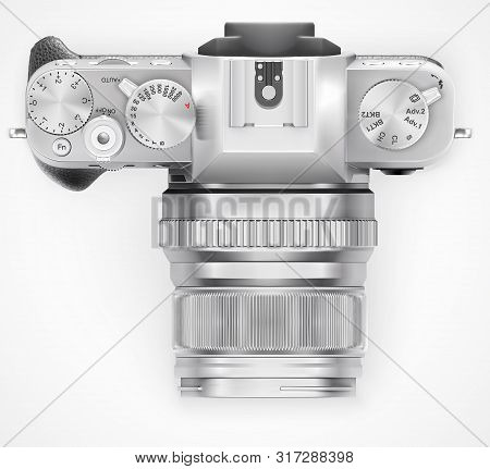Ultra Realistic 3d Slr Retro Style Photo Camera. With Leather Part. Top View Isolated On White Backg