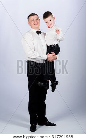 Stylist In Tuxedo Style. Wedding Party. Father And Son In Formal Suit. Happy Child With Father. Busi