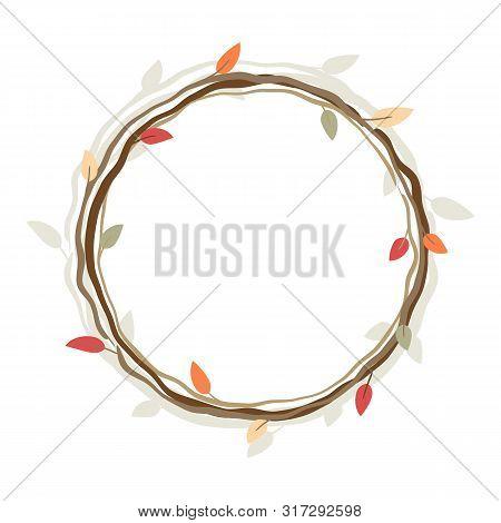 Autumn Wreath, Round Vector Frame For Design. Eps 10