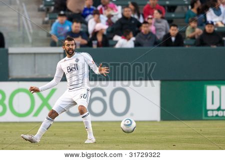 CARSON, CA. - JUNE 1: Vancouver Whitecaps FC D Mouloud Akloul #50  during the MLS game between Vancouver Whitecaps & Chivas on June 1 2011 at the Home Depot Center.