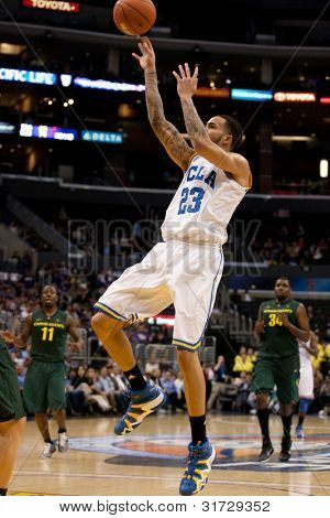 LOS ANGELES - MARCH 10: UCLA Bruins F Tyler Honeycutt #23 in action during the NCAA Pac-10 Tournament basketball game on March 10 2011 at Staples Center.