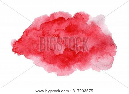 Bright Expressive Deep Red And Pink Wet Watercolor Texture Blob Isolated On White Background, Wash T