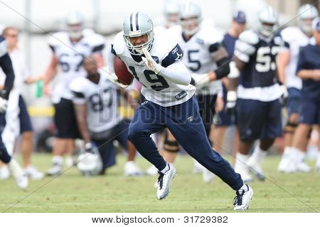 OXNARD, CA. - AUG 15: Dallas Cowboys WR (#19) Miles Austin during the second day of the 2010 Dallas Cowboys Training Camp on Aug 15 2010 in Oxnard, California.