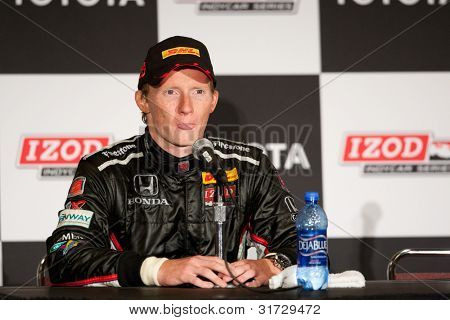LONG BEACH - APRIL 17: Mike Conway driver of the #27 Andretti Autosport Window World Cares Honda during the post race conference of the IndyCar Series Toyota Grand Prix on April 17 2011 in Long Beach.