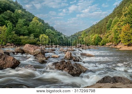 A Close Up View Of The Whitewater Flowing Downstream On The Ocoee River In Tennessee In Autumn On A