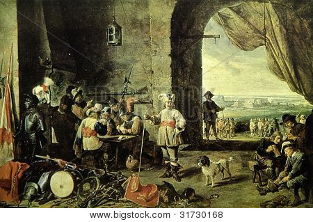 USSR - CIRCA 1988: Postcard printed in the USSR shows draw by David Teniers the Younger