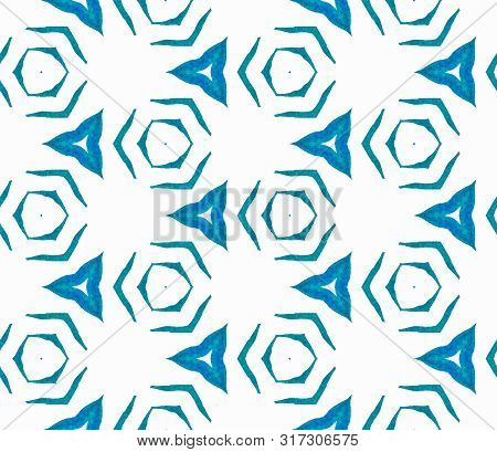 Blue Geometric Foliage Seamless Pattern. Hand Drawn Watercolor Ornament. Quaint Repeating Tile. Over