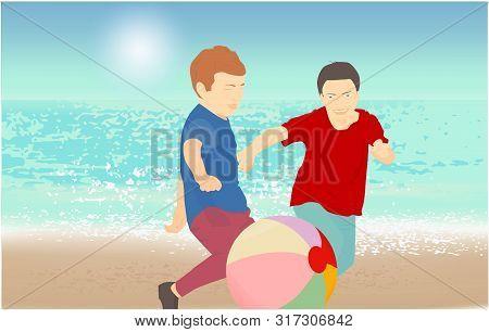 Children Playing With A Ball. Sandy Beach Bright Sun