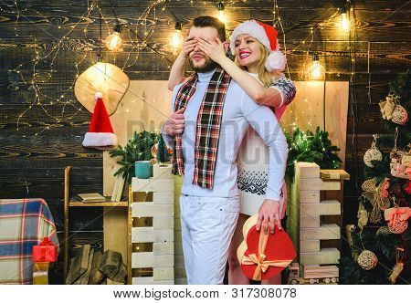 Surprise For Sweetheart. Merry Christmas And Happy New Year. Christmas Gifts. Man Handsome With Gift