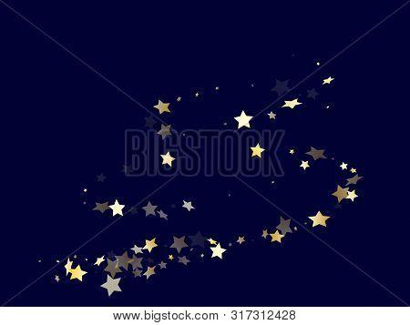 Gold Gradient Star Dust Sparkle Vector Background. Astral Gold Star Sparkles Dust Elements On Dark B
