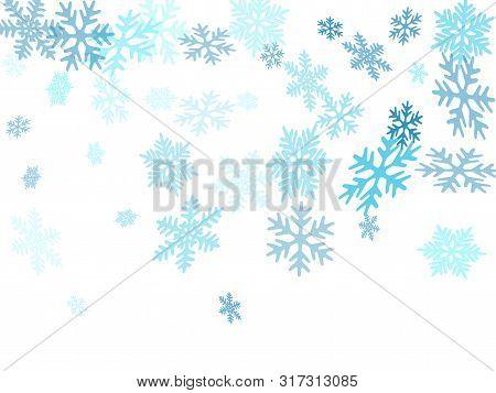 Snow Flakes Falling Macro Vector Illustration, Christmas Snowflakes Confetti Falling Scatter Backdro