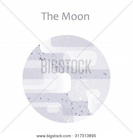 Gray Full Moon Flat Modern Illustration On White