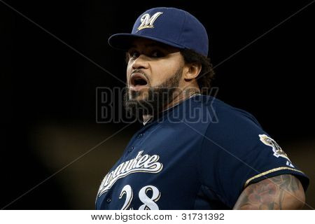 LOS ANGELES - MAY 16: Milwaukee Brewers 1B Prince Fielder #28 during the Major League Baseball game on May 16 2011 at Dodger Stadium in Los Angeles.