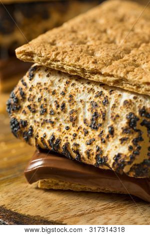 Homemade Gooey Smores Sandwiches With Chocolate And Marshmallows