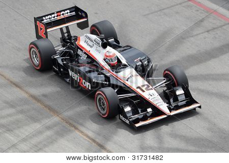 LONG BEACH - APRIL 17: Will Power driver of the #12 Verizon Team Penske Dallara Honda races during the IndyCar Series Toyota Grand Prix on April 17 2011 in Long Beach.