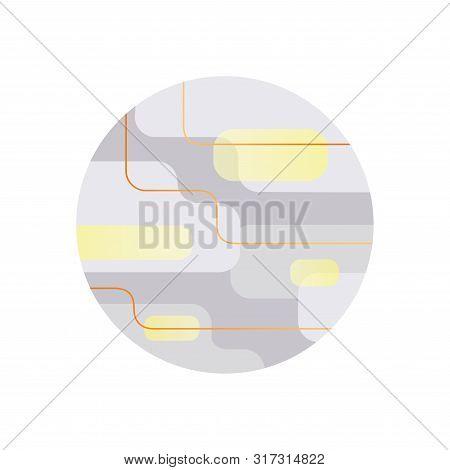 Gray And Yellow Full Moon Flat Modern Illustration On White