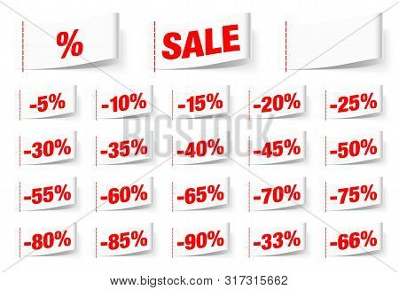 Set Of White Textile Labels Sale With Seam