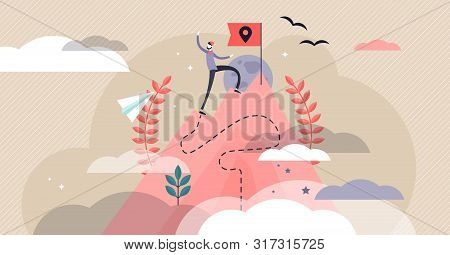 Pioneer Vector Illustration. Flat Tiny First Exploration Persons Concept. Abstract Innovation Path V
