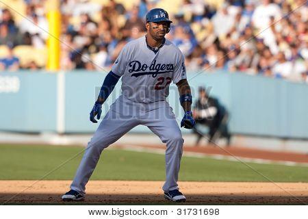 LOS ANGELES - 30 de maio: Los Angeles Dodgers CF Matt Kemp #27 durante o jogo MLB entre o Colorado