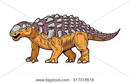 Ankylosaurus Big Dangerous Dino Reptile Dinosaur. Cartoon Illustration, Drawing, Engraving, Ink, Lin