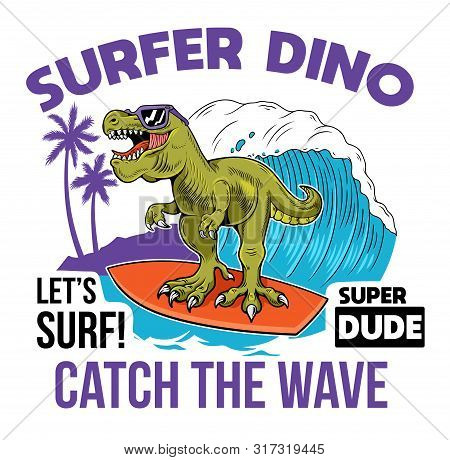 Funny Kid T-rex Tyrannosaurus Rex Surfer Dino Dinosaur Riding On Big Wave. Cartoon Character Illustr